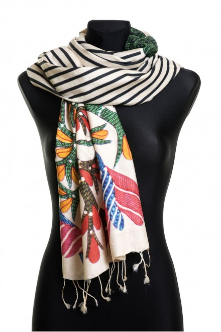 Tribal art and stripes (100% Silk)