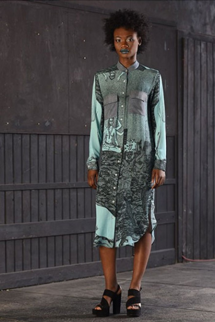 Urban-chic printed shirt dress